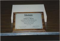 Mankato State University Anita C. Stone Retirement plaque, 04-03-1989.