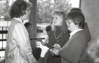 Former Mankato State University President Margaret Preska in the Performing Arts Center at Mankato State University, 1988