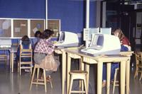 Mankato State University, Memorial Library: students using the computer lab, 1990