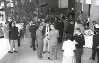 Mankato State University, formal gathering of people at the performing art building before or after a performance, 1988
