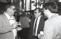 Mankato State University, friends in conversation at the Performing Art Center, 1988
