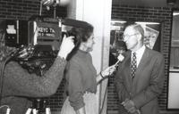 Mankato State University, gentlemen being interviewed by a local TV station in the Performing Arts Building. 1988