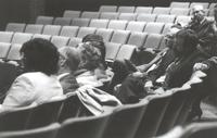 Mankato State University, back view of auditorium, back of individual's heads. Performing Arts Building, 1980