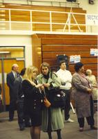 Mankato State University, people gathering inside a gym for Hillary Clinton's speech, October 30, 1992