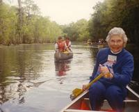 Mankato State College, Ruth Schellberg taking her class out to Boundary Waters Canoe Area for class. 1970