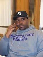 Minnesota State University, Marco Forestal, using cell phone in a Trafton classroom, 2011, Oral History Interview and Collection,