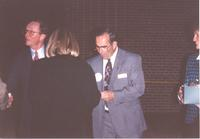 Mankato State University president Richard Rush and former Mankato Mayor Stan Christ at Otto Recreation center on October 30,1992.