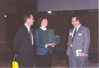 Mankato State University President Richard Rush, Kathy Sheran and Mayor Stan Christ at Otto Arena, October 30, 1992.