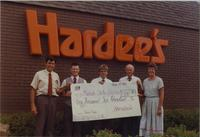 Hardee's restaurant supporting Mankato State University Atheltics, August 1987.
