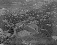 Mankato, Minnesota. Aerial image of downtown Mankato, 1960's