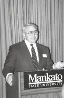 Mankato State University, individual giving a speech at an event, 1980