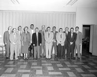 Faculty members at Mankato State College posing for a photo, 1958-03-20.