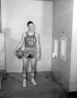 A still shot of Jerry Bodelson, a student basketball player at Mankato State College, 1958-03-19.