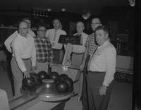 Members of the faculty bowling at Mankato State College 1959-12-10