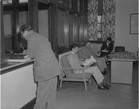 Students at administrative office at Mankato State College 1959-04-03