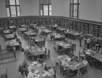 Students studying in the library at Mankato State College 1959-09-21