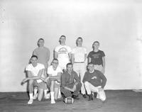Football team posing for a picture at Mankato State College 1964-02-27