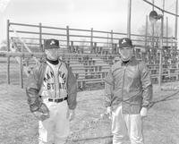 Portrait of Baseball players, Doug Burgess and Tony Corcoran at the Baseball pitch at Mankato State College, 1964-04-17.