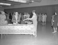 Mothers at the Mother-Daughter Tea, getting refreshments at Mankato State College, 1964-05-14.