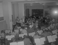 Band rehearsal at Mankato State College,1964-05-20.