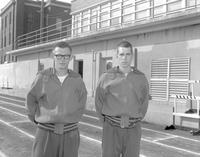 Two male track athletes, Mankato State College, 1964-04-28.