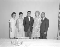 Three women and two men at Mankato State College, 1964-05-26.