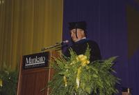 Gaber Abou El-Enein speaking at the Commencement ceremony, Mankato State University, 1991-08-16.