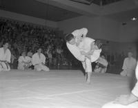 Martial arts with two men, Mankato State College, 1962-01-22.