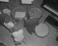 Aerial view of the percussion section, Mankato State College, 1962-01-26.