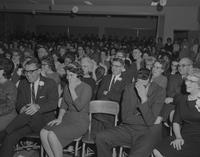 Crowd reacting to tale being told during Tall Tale Contest at Mankato State College, 1962-01-26.