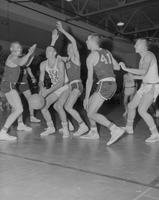 Mankato State College vs. Winona State basketball game during Snow Week at Mankato State College, 1962-01-29.