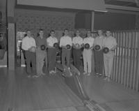 Intramural group photo for bowling at Mankato State College, 1962-02-15.