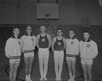 Fagerlaugh, Thompson, Born, Stelzig, Wizer, DeMuth of the gymnastic's team at Mankato State College, 1962-12-17.