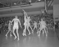 Mens basketball game at Mankato State College, 1962-01-07.
