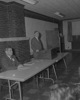 Dr. Crawford speaking at Language Conference at Mankato State College, 1962-12-04.