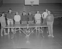 Ping Pong team of eight men at Mankato State College, 1963-01-27.