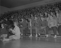 Spectators at Wrestling meet at Mankato State College, 1963-01-18.