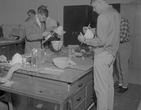 Students working in Industrial Arts shop at Mankato State College, 1963-01-29.