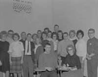 Group of men and women who won first place at Mankato State College, 1963-01-29.
