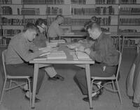 Students at Mankato State College studying in the Lincoln Library, 1963-01-29.