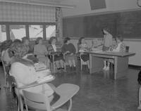 Freshman group of Nursing students giving a panel discussion at Mankato State College, 1963-01-29.