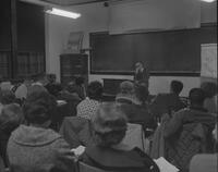 Professor teaching a class at Mankato State College, 1963-01-29.
