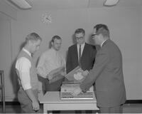 Ray Johnson instructing students in the usage of audio equipment at Mankato State College, 1963-01-29.
