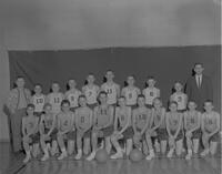 Young boys Basketball team at Mankato State College, 1963-02-08.