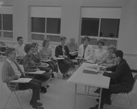 Mankato State College Campus Religious Council (CRC) meeting, Newman Center, 1962-02-18.
