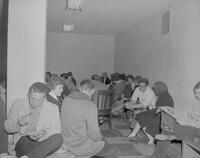 Mankato State College students eating lunch, 1963-02-18.