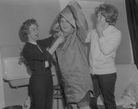 "Behind the scenes at the Mankato State College Winter Quarter Play, ""Rhinoceros,"" 1963-02-20."