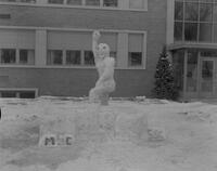 Snow Week sculpture at Mankato State College, 1963-02-23.