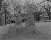 Alpha Rho Tau, Art Fraternity sculpture at Snow Week, Mankato State College. 1963-02-23.