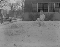 Alpha Pi Omega sculpture for Snow Week, Mankato State College, 1963-02-23.